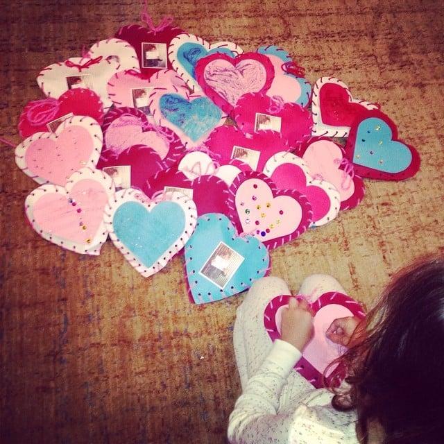 Honor Warren got to work on her valentines using a craft from Honest. Source: Instagram user jessicaalba
