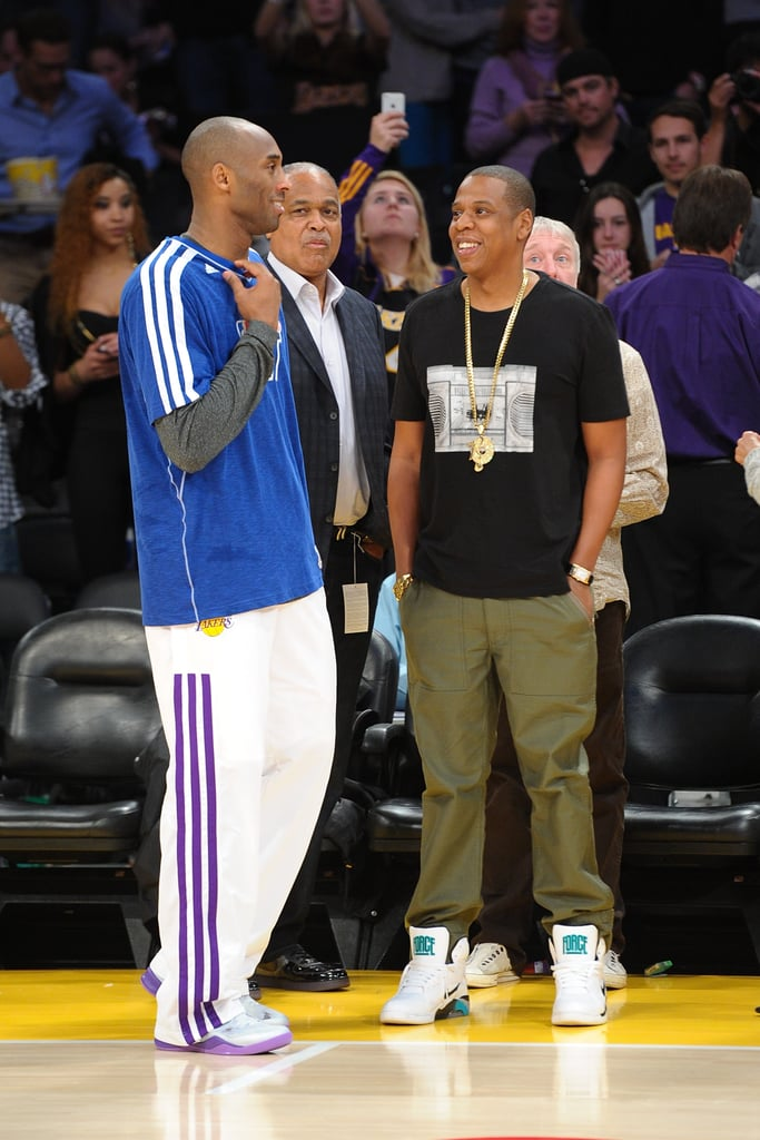 Jay-Z chatted with Kobe Bryant ahead of a Lakers game in January.