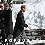 Prince William dressed up for a wedding in Switzerland.