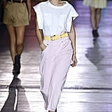 Gigi in Pink Pants and a Tee on the Alberta Ferretti Runway