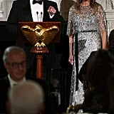 Melania Trump's Silver Sequined Gown Stole the Spotlight From the President