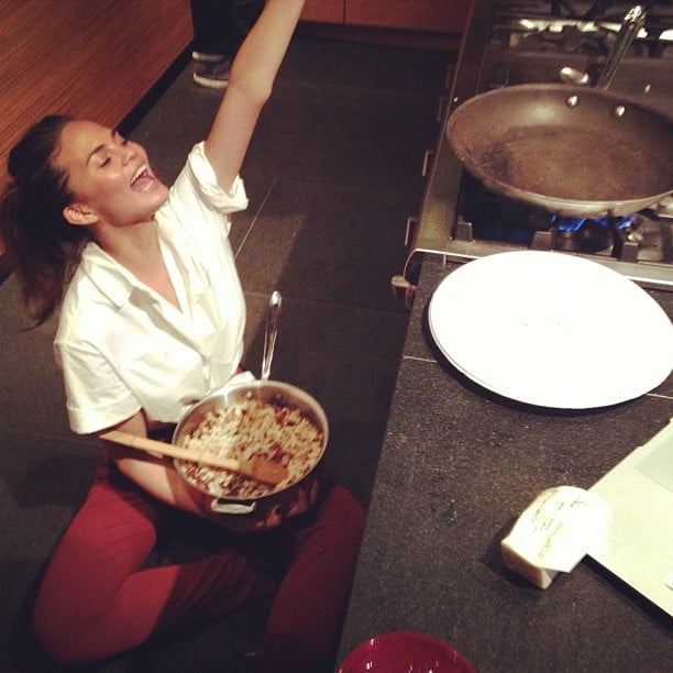 Chrissy Teigen celebrated the president's win while making quesadillas.  Source: Twitter user chrissyteigen