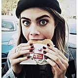 Cara Delevingne enjoyed an In-N-Out burger. Source: Twitter user Caradelevingne