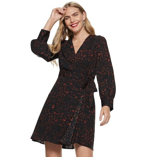 Nine West Long Sleeve Wrap Dress