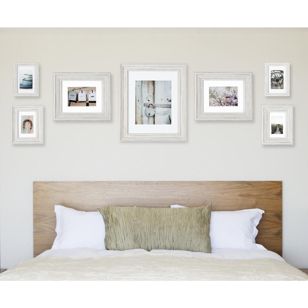 Pinnacle Gallery Perfect Distressed White Collage Picture Frame Set