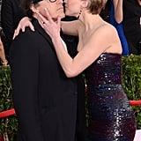 Jennifer Lawrence kissed director David O. Russell at the SAG Awards.