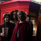 Michelle Gomez, Lachlan Watson, Jaz Sinclair, Kiernan Shipka, and Ross Lynch as Mary, Susie, Rosalind, Sabrina, and Harvey