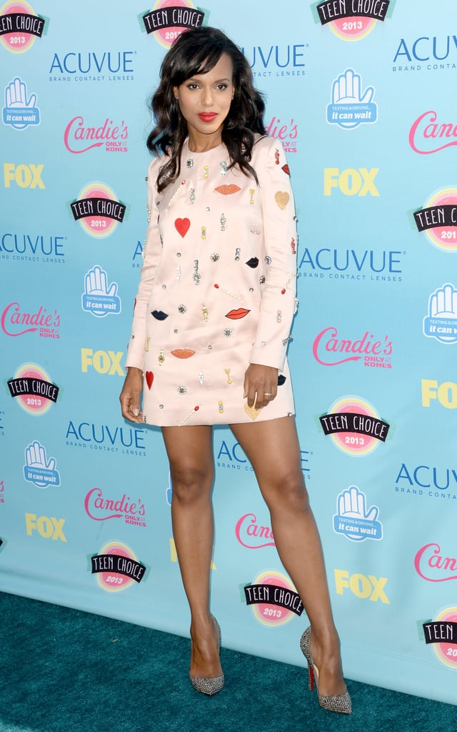 Kerry Washington's scarlet lips coordinated flawlessly with her quirky Stella McCartney dress that she styled with Christian Louboutin heels.