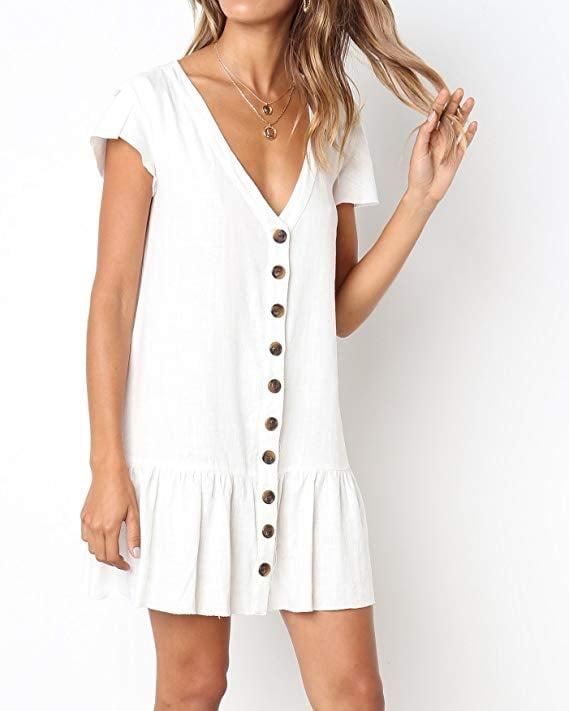 Freshlook V-Neck Button-Down Shirt Dress