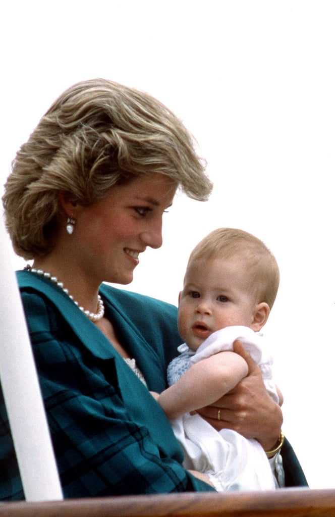 Prince Harry kept close to his mom during the royal tour of Italy in May 1985.