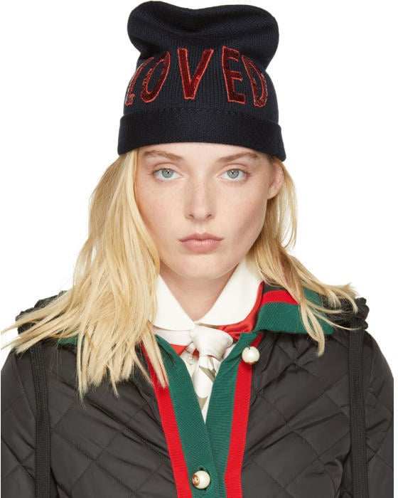 Gucci Navy Wool Loved Beanie  70842d39338
