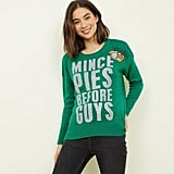 New Look Green Mince Pies Before Guys Glitter Christmas Jumper