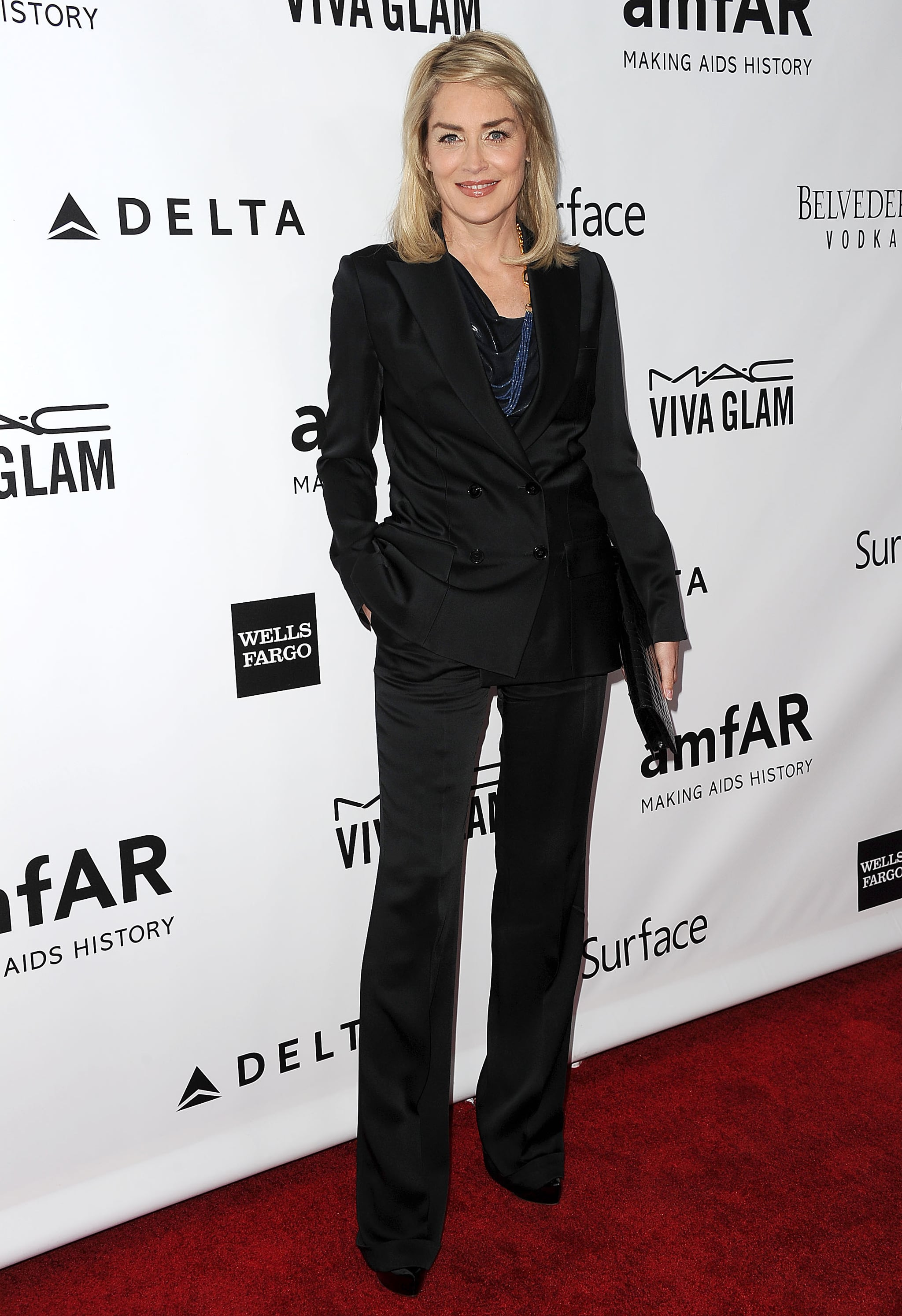 Sharon Stone wore a black suit.