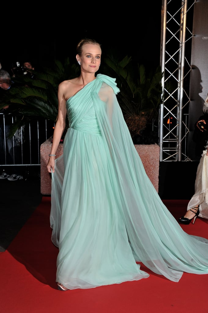 Diane stunned when she arrived at the Moonrise Kingdom premiere at Cannes this year, wearing an ethereal Giambattista Valli Couture seafoam-green gown.