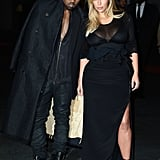 Kim Kardashian and Kanye West sported matching black-on-black looks at the Givenchy runway show during Paris Fashion Week in September 2013.