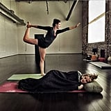 "We're loving the caption on this photo from actress Nina Dobrev: ""Yoga? Namast'ay in Bed."""