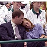 A tired Beatrice rested her head on her dad's shoulder during a charity tennis tournament in 2000.