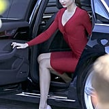 Miranda Kerr posed for photos in a red dress.