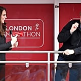 Kate joked around with Harry when they watched the London Marathon in April 2017.