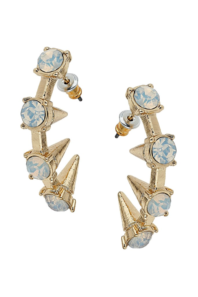 Topshop's curved rhinestone spike earrings ($15) mean business.