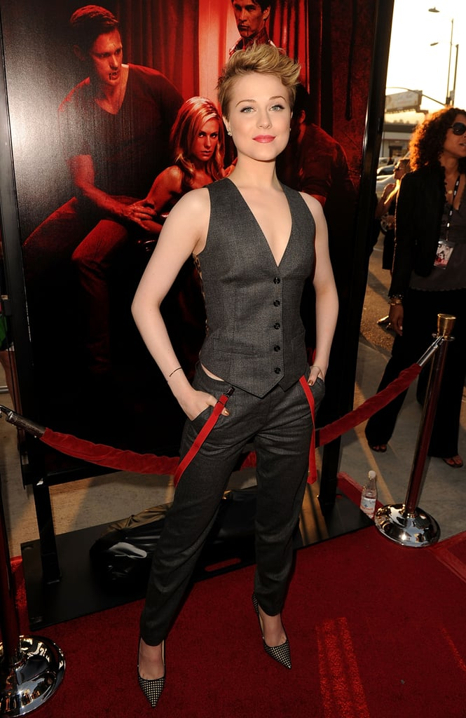 Evan Rachel Wood debuted a new hairstyle at the True Blood premiere.