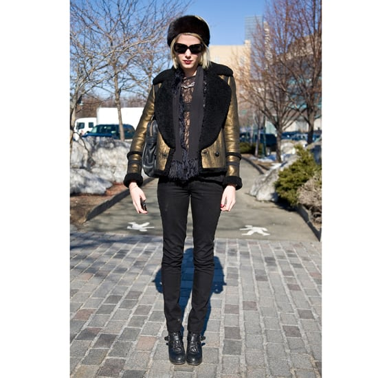 """An all-black ensemble gets a dose of cold-weather glamour in the form of a shimmering coat at Fall 2011 New York Fashion Week. Shop the look: <iframe src=""""http://widget.shopstyle.com/widget?pid=uid5121-1693761-41&look=4300427&width=3&height=3&layouttype=0&border=0&footer=0"""" frameborder=""""0"""" height=""""244"""" scrolling=""""no"""" width=""""286""""></iframe> Photo: Stylesight"""