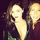 Aussie stylist Romy Frydman posted a pic of herself with sometime-client Miranda Kerr. Check Miranda's velvet green Gucci dress — we die.