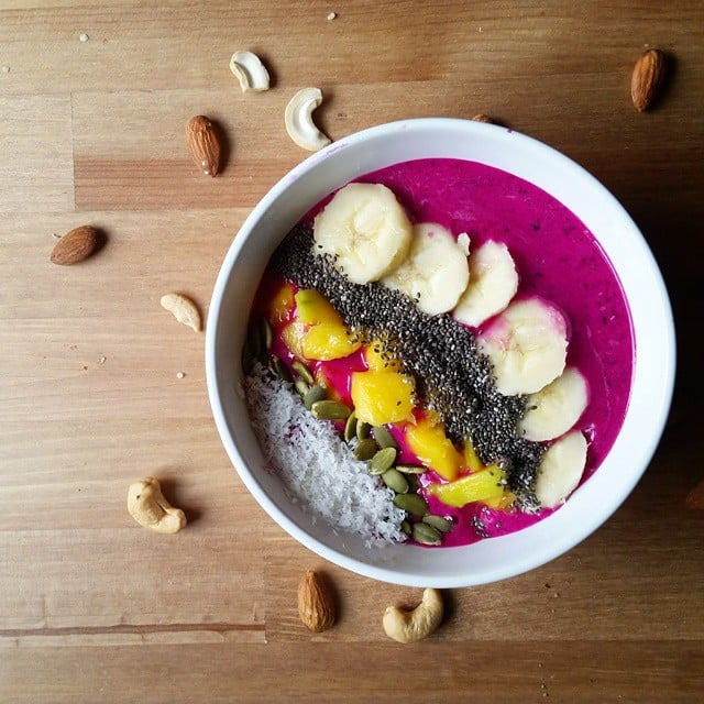 Top your bowl with chia seeds for added crunch and a healthy dose of protein, fiber, calcium, antioxidants, and omega-3s.