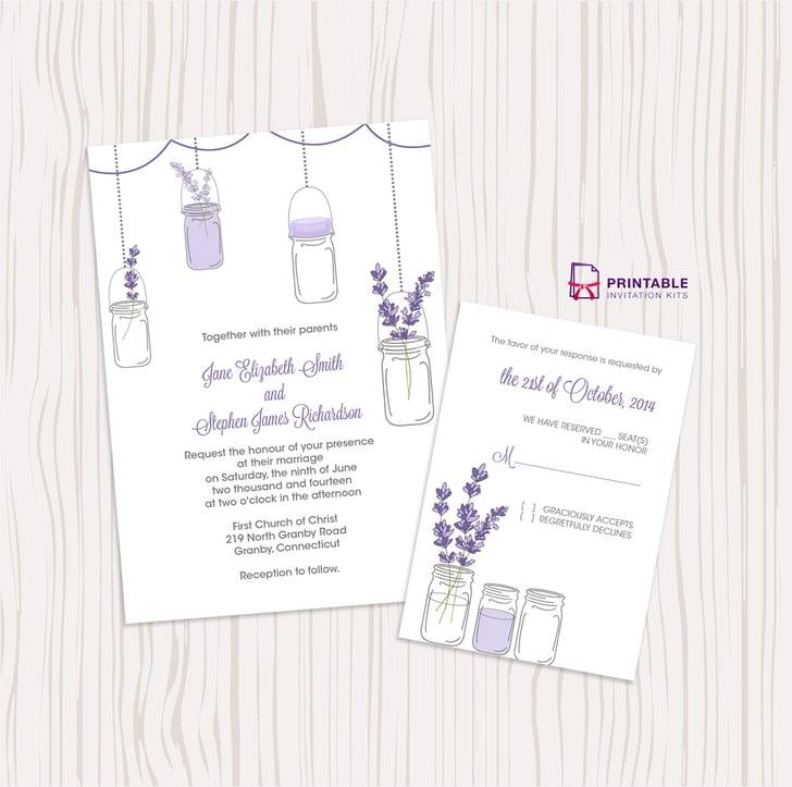 Wedding Invitations Mason Jar: Lavender And Mason Jar Wedding Invitation