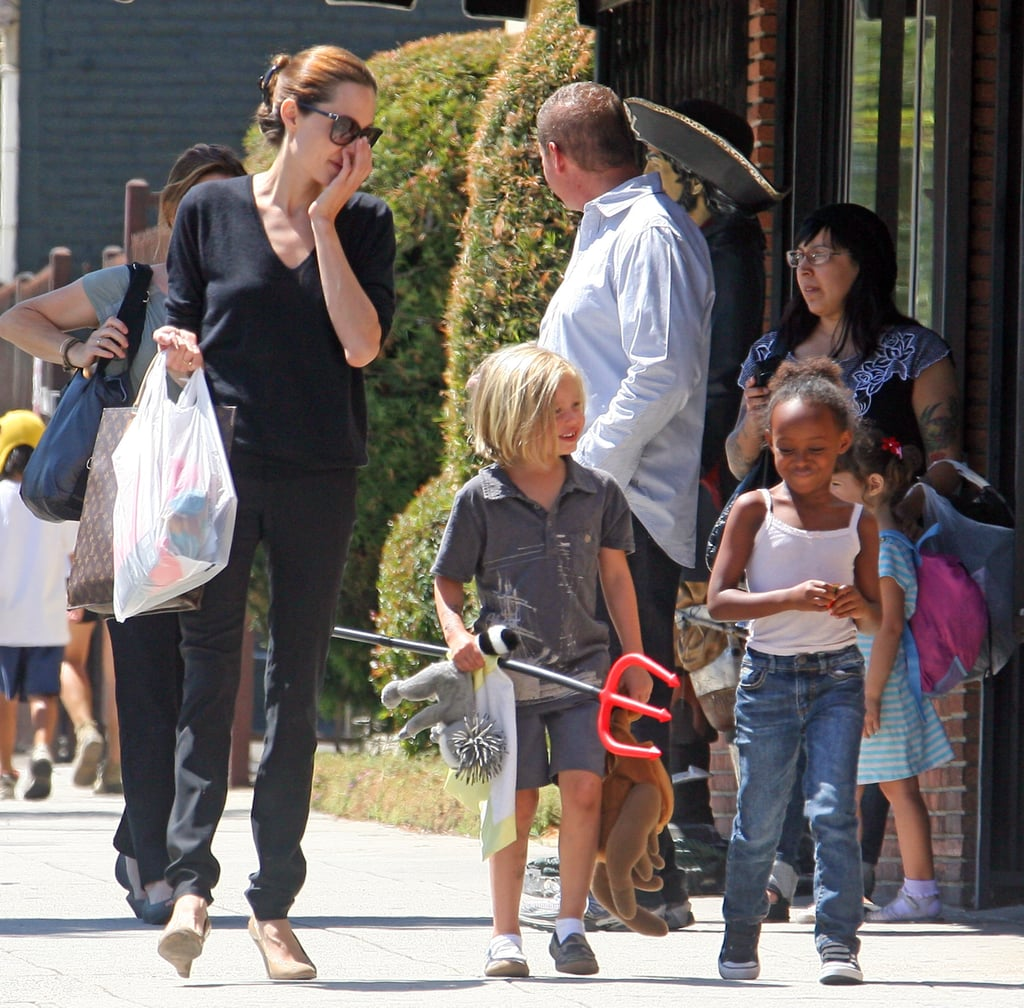 Angelina Jolie, Shiloh Jolie-Pitt, and Zahara Jolie-Pitt together in LA.