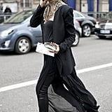 A decadent take on street style with an ornate collar necklace.