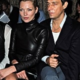 Kate Moss in Leather Dress at Paris Fashion Week