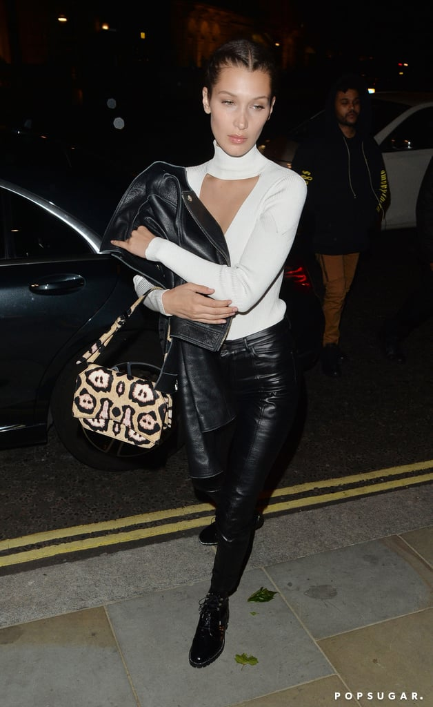 Bella Hadid's Leather Outfit June 2016