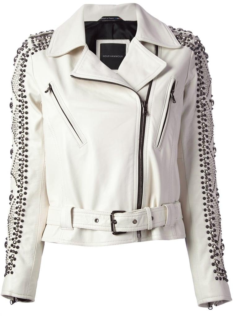 Nour Hammour white studded motorcycle jacket ($2,039)