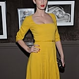 Emily Blunt wore a yellow dress with bright red lips to the Elie Saab private dinner in NYC.