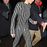 Kendall Dressed the Part in a Striped, Sequined Marc Jacobs Jumpsuit