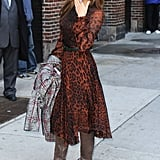 Eva Mendes wore a leopard Dolce & Gabbana dress for her Late Night With David Letterman appearance in NYC.