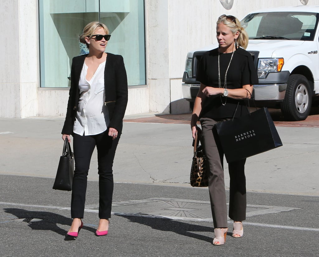 Reese Witherspoon wore her hair up for her afternoon out.