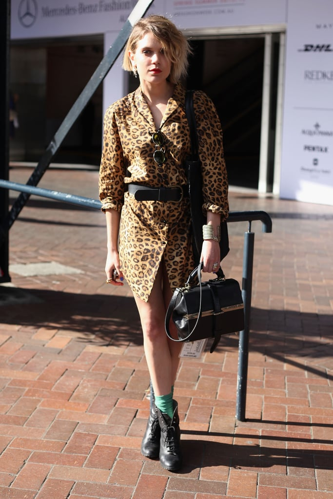 Animal print got a slick update via zippered accessories and vintage boots.