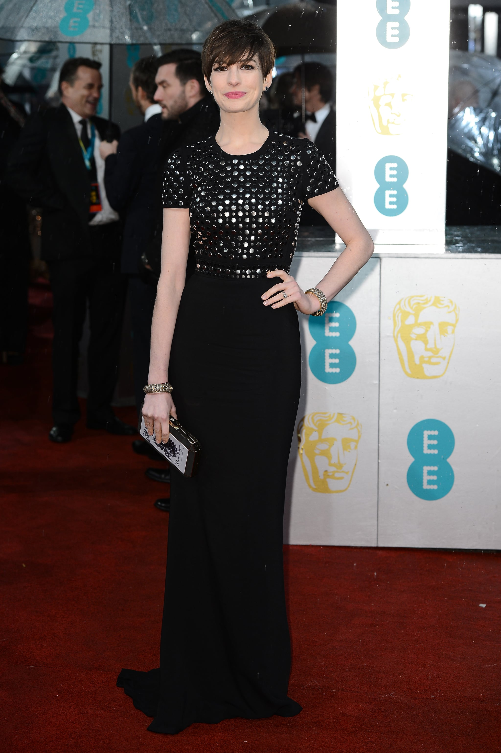 Anne Hathaway donned Burberry for the BAFTA Awards.