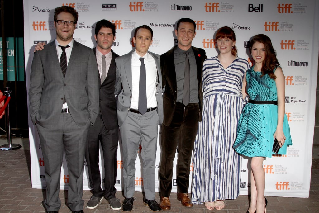 The ensemble cast of 50/50 had a busy Monday at the Toronto Film Festival. Bryce Dallas Howard, Anna Kendrick, Seth Rogen, and Joseph Gordon-Levitt joined forces for an afternoon press conference followed by their red carpet premiere and afterparty, where they posed with director Jonathan Levine and screenwriter Will Reiser. Bryce, who also made her debut as a producer with Restless at TIFF last week, chose shades of blue for yesterday's photo opportunities. Over the weekend, Bryce also celebrated at a Kate Spade party, thrown in her honor, where she reunited with her cast mate from The Help, Jessica Chastain. Anna is coming from work on the set of End of Watch in California, and she was recently spotted cozying up to costar Jake Gyllenhaal, though she was on her own in Toronto. Joseph Gordon-Levitt and Seth Rogen play best friends in the film, which earned a standing ovation after its debut screening last night.