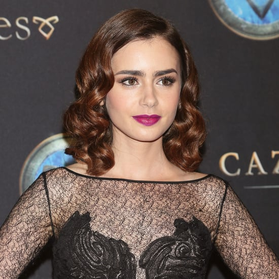 Lily Collins Curled Hair For Promo Tour