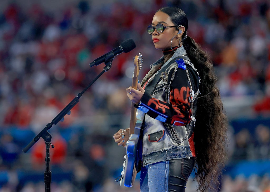 H.E.R's Super Bowl Outfit With Embellished Leather Jeans