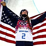 Maddie Bowman celebrated after winning the gold, holding up the American flag.
