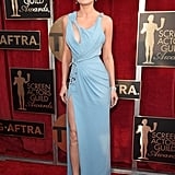 Brie Larson in a Atelier Versace gown.