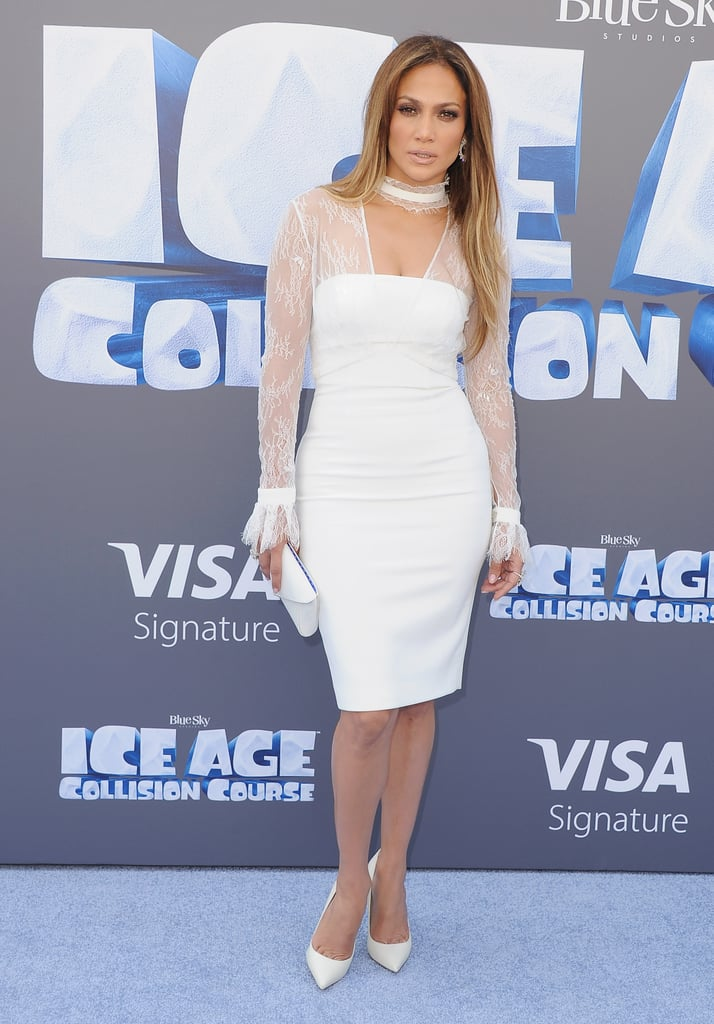 Jennifer Lopez melted the red carpet at the Ice Age: Collision Course premiere in one sizzling all-white outfit. The singer and Shades of Blue star, who voices the character Shira in the movie, stunned before the cameras in a formfitting above-the-knee dress with a sheer lace- and choker-detailed bolero jacket. Jennifer took her look a monochrome step further by pairing the sleek Vatanika number with matching accessories, including pumps, a clutch, and ornate hoop earrings. Gorgeous, right? Her ensemble, of course, wouldn't be complete without her signature glowy makeup, which totally made the bright look pop. Keep scrolling to see even more pictures of J Lo, and then check out her recent Selena-inspired onstage outfit.      Related:                                                                Every Single Naked Dress Jennifer Lopez Has Worn Since 1997                                                                   6 of Jennifer Lopez's Hottest and Most Badass Workout Moments                                                                   Grab Your Oven Mittens, Because These Photos of Jennifer Lopez Are Too Hot to Handle