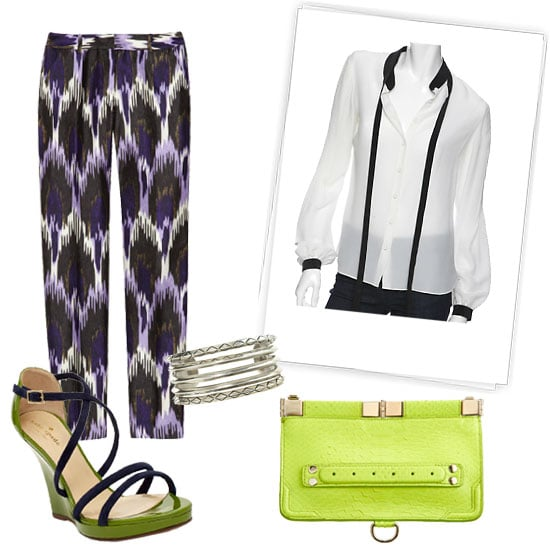 Pair ikat trousers with a colorblocked complement — blouse or sandal — and top off the print with a pop of neon.  Michael Michael Kors Ikat-Print Silk-Blend Pants ($175) Kate Spade Vanessa Sandals ($325) Jeunesse Colorblock Tie Blouse ($230) Proenza Schouler Evening Clutch Python ($1,695) House of Harlow Stacking Bangles, Set of Five ($95)