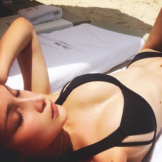 Bella Hadid's Black Bikini Style