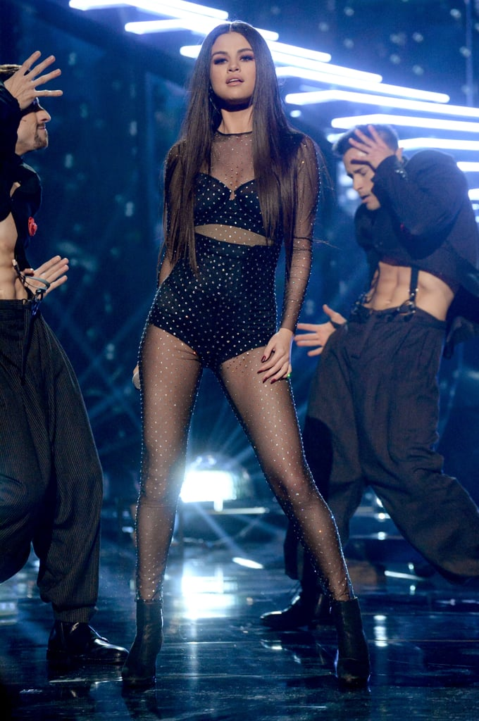 The Story Behind Selena Gomez's Mesh Bodysuit at the 2015 AMAs