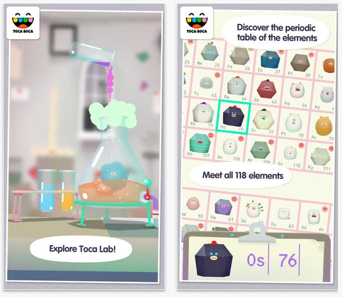 toca lab 3 ios android amazon apps science is made - Best Periodic Table App For Iphone